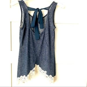 NWOT small blue tie back tank with cream lace